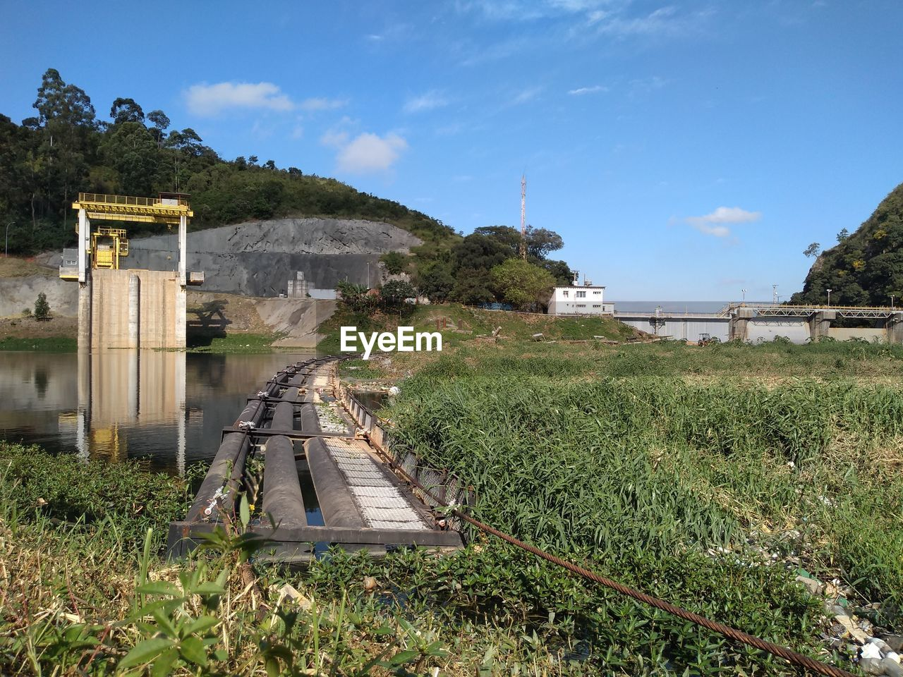 plant, sky, built structure, nature, architecture, tree, water, green color, day, grass, growth, rail transportation, no people, transportation, track, bridge, connection, railroad track, land, outdoors, bridge - man made structure