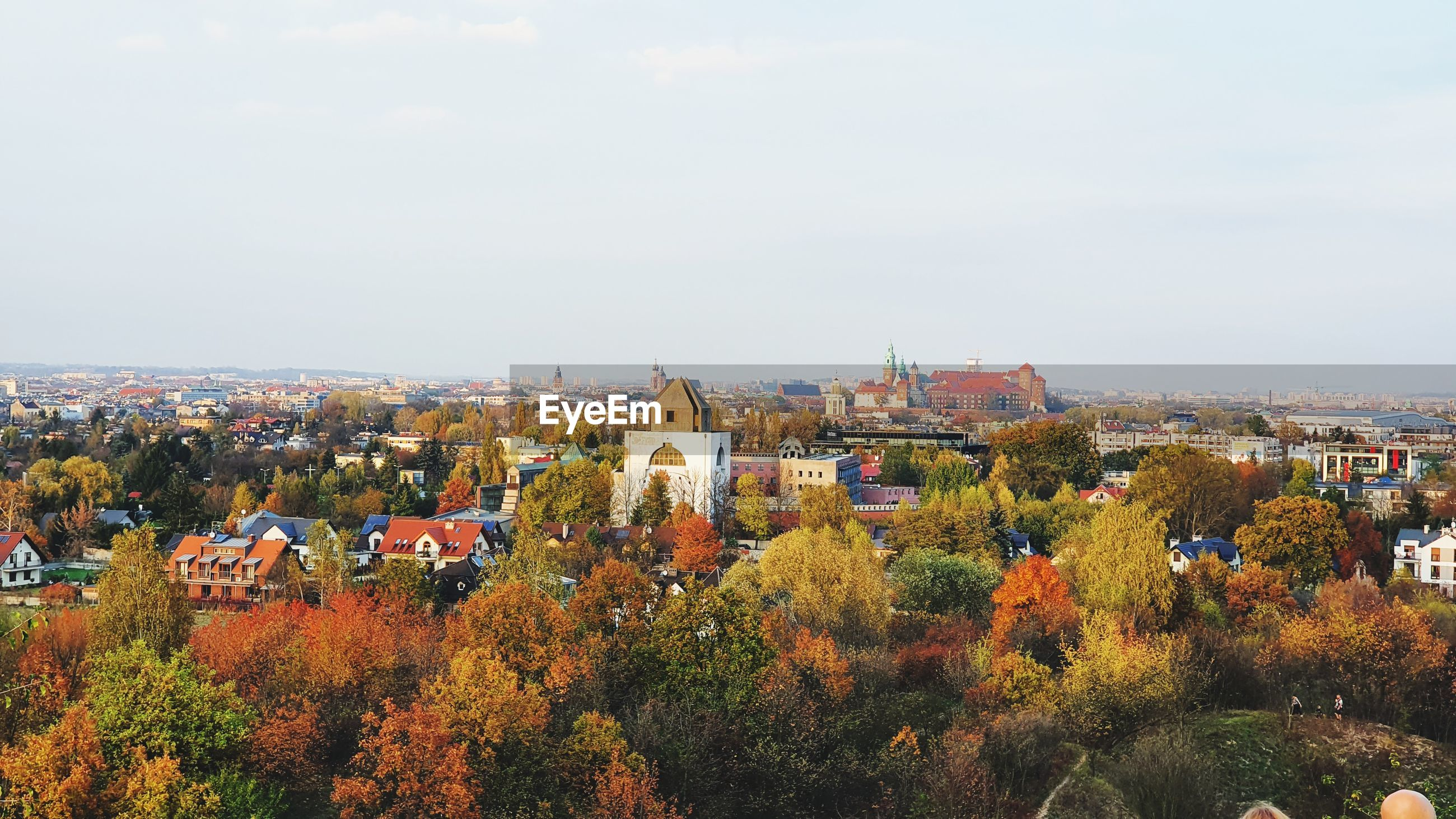 High angle view of townscape against sky during autumn