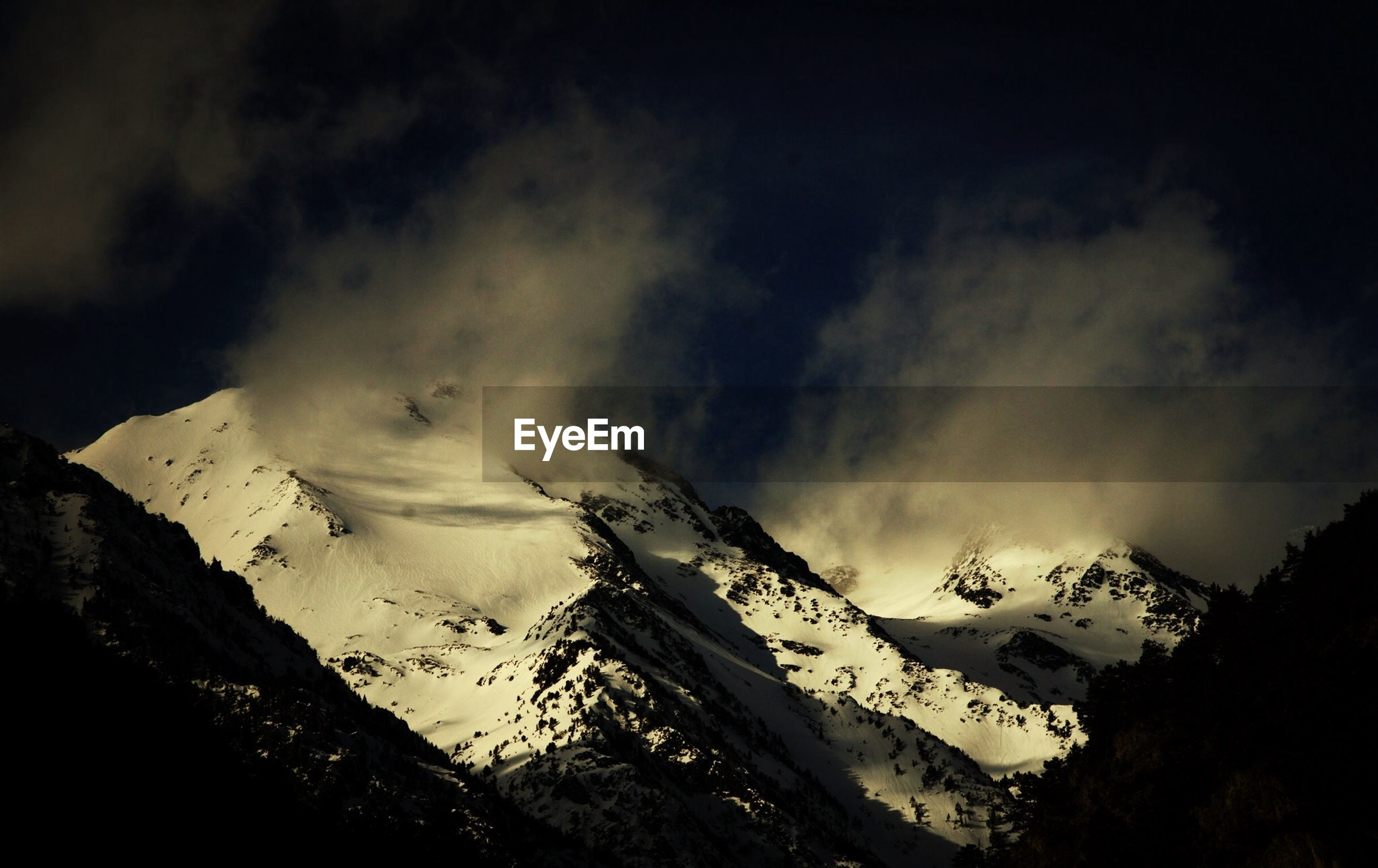 Scenic view of snow mountains