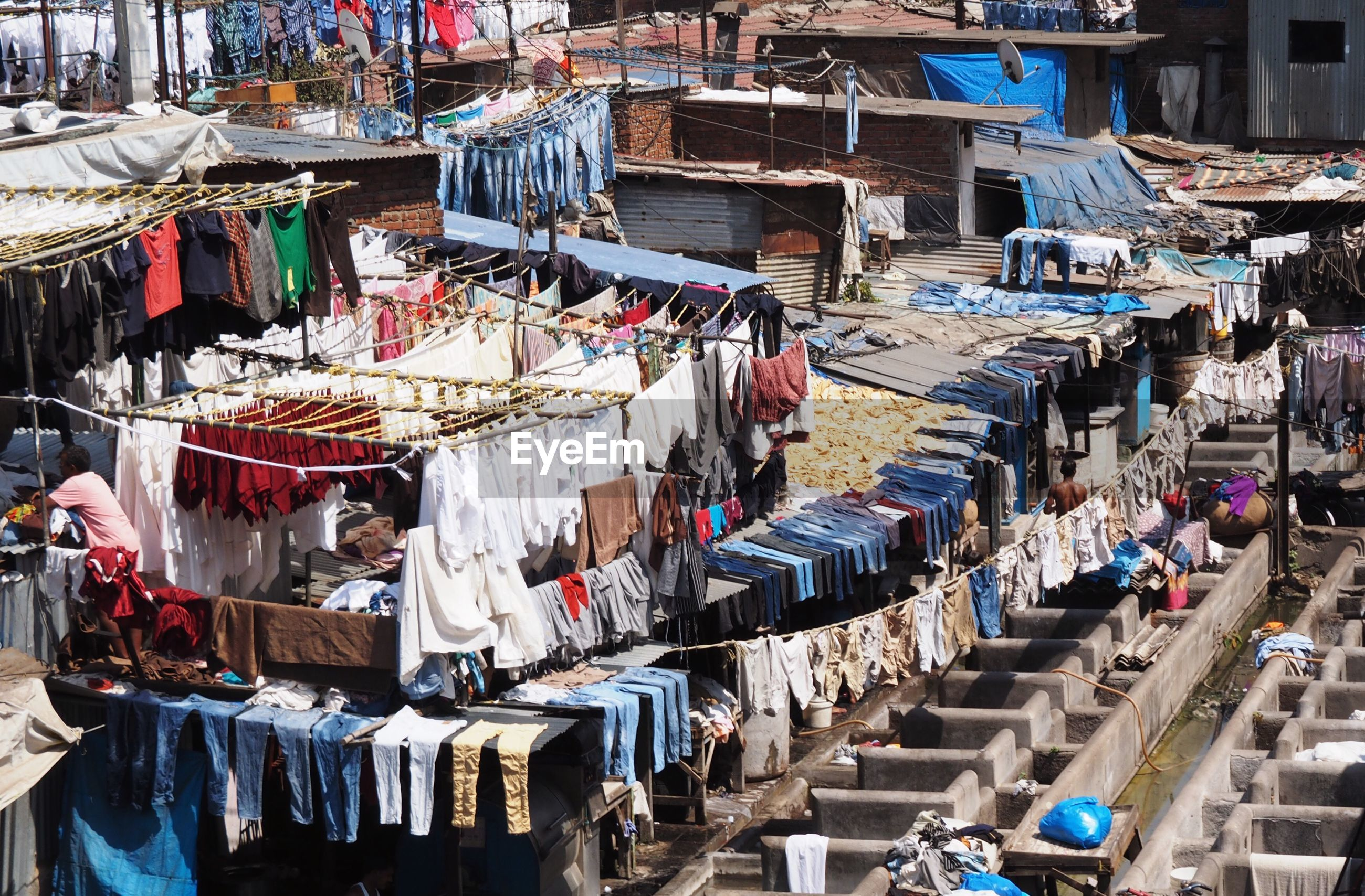 High angle view of clothes drying during sunny day