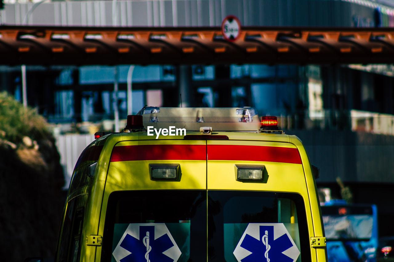 View of ambulance on street