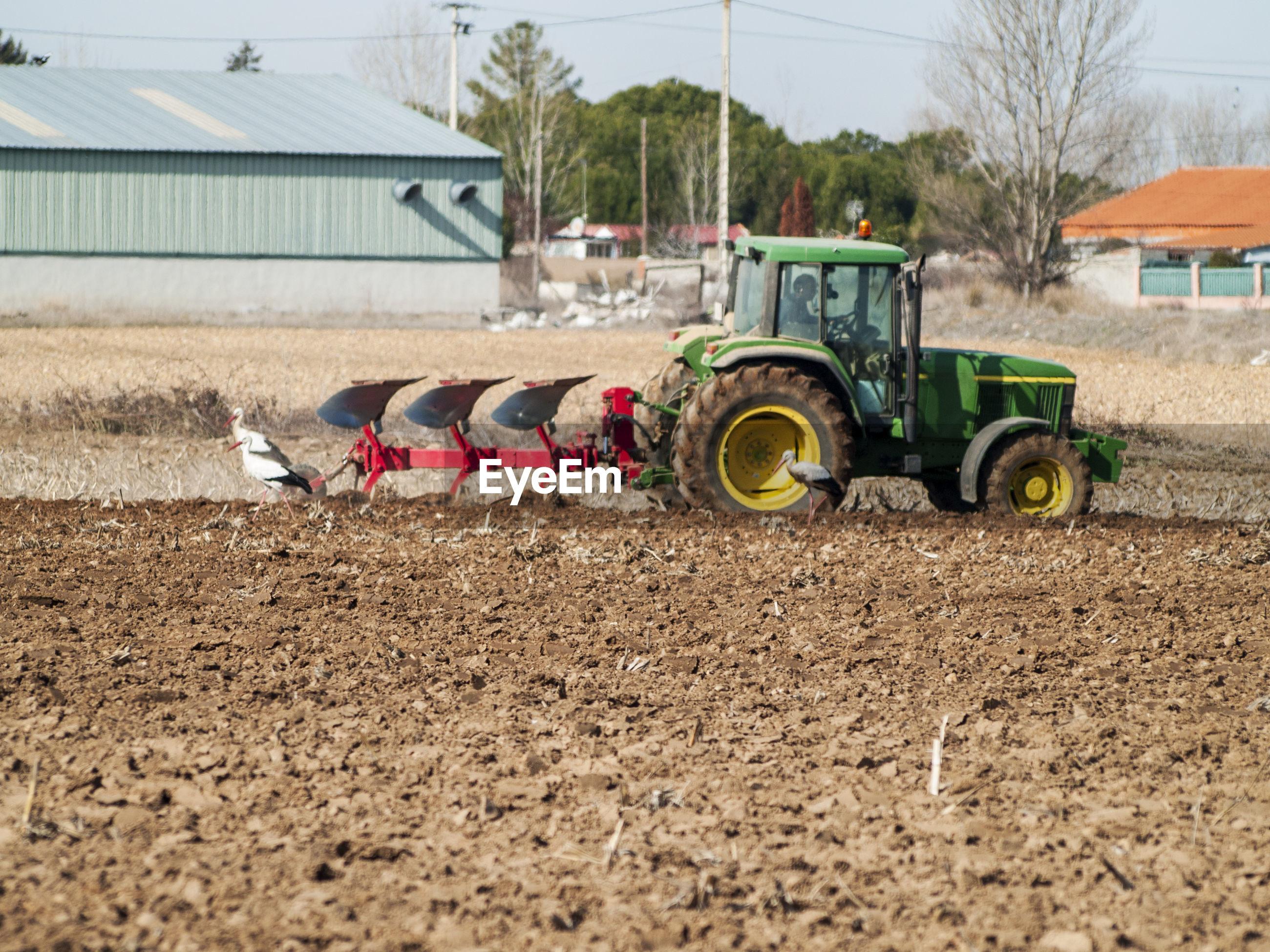 Combine harvester on field in farm