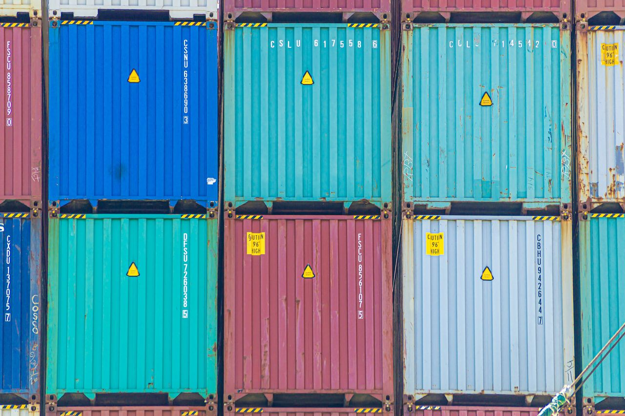 freight transportation, architecture, metal, blue, cargo container, no people, container, shipping, commercial dock, multi colored, full frame, industry, business, door, pier, security, day, closed, entrance, backgrounds, iron, corrugated