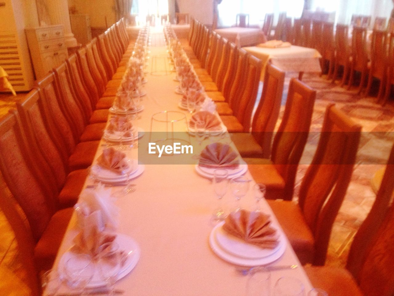 in a row, order, indoors, arrangement, table, food and drink, no people, drinking glass, large group of objects, empty, chair, place setting, drink, neat, day, close-up, food, ready-to-eat, freshness