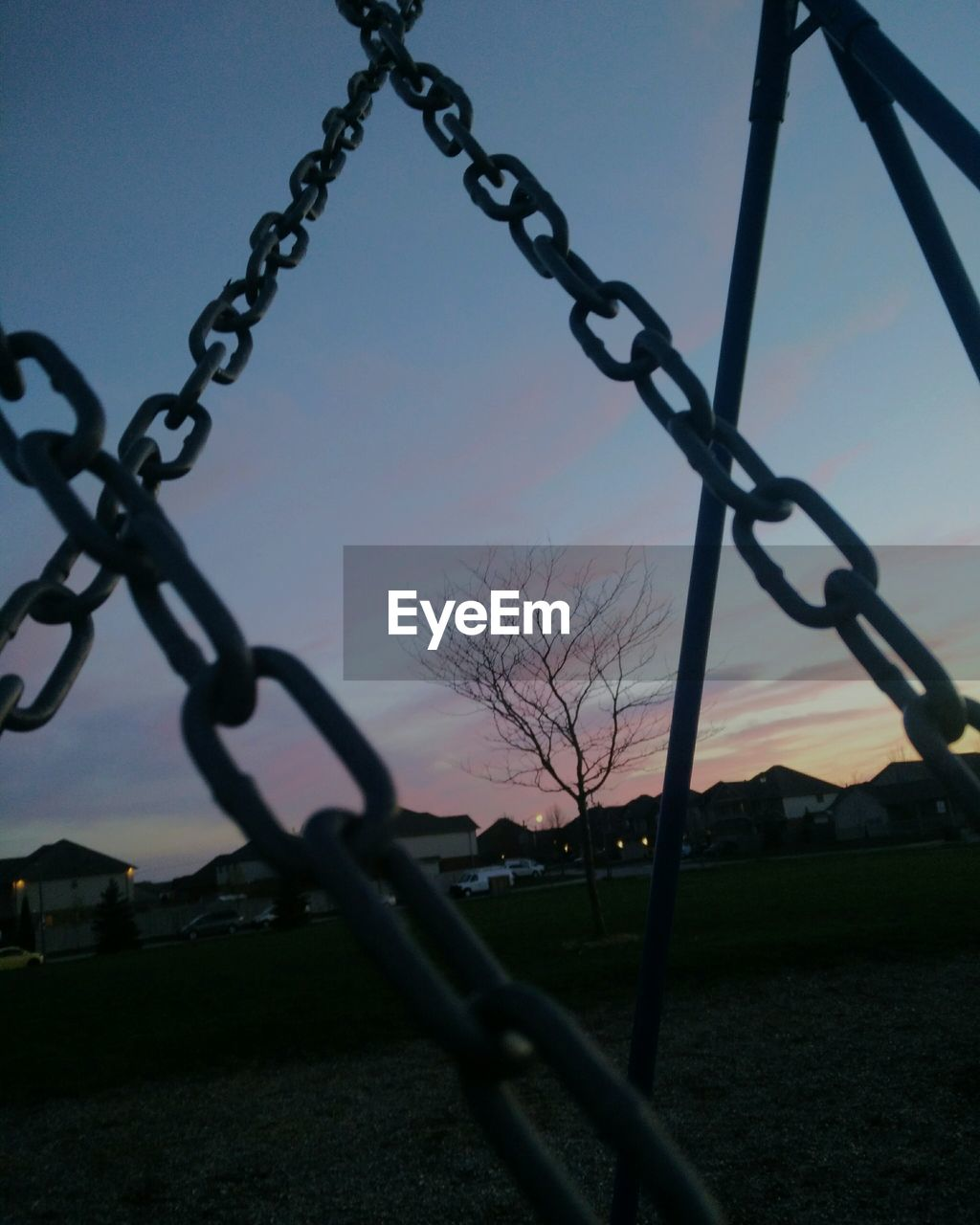 metal, protection, chainlink fence, security, safety, chain, barbed wire, sky, no people, outdoors, sunset, low angle view, landscape, day, clear sky, bare tree, close-up