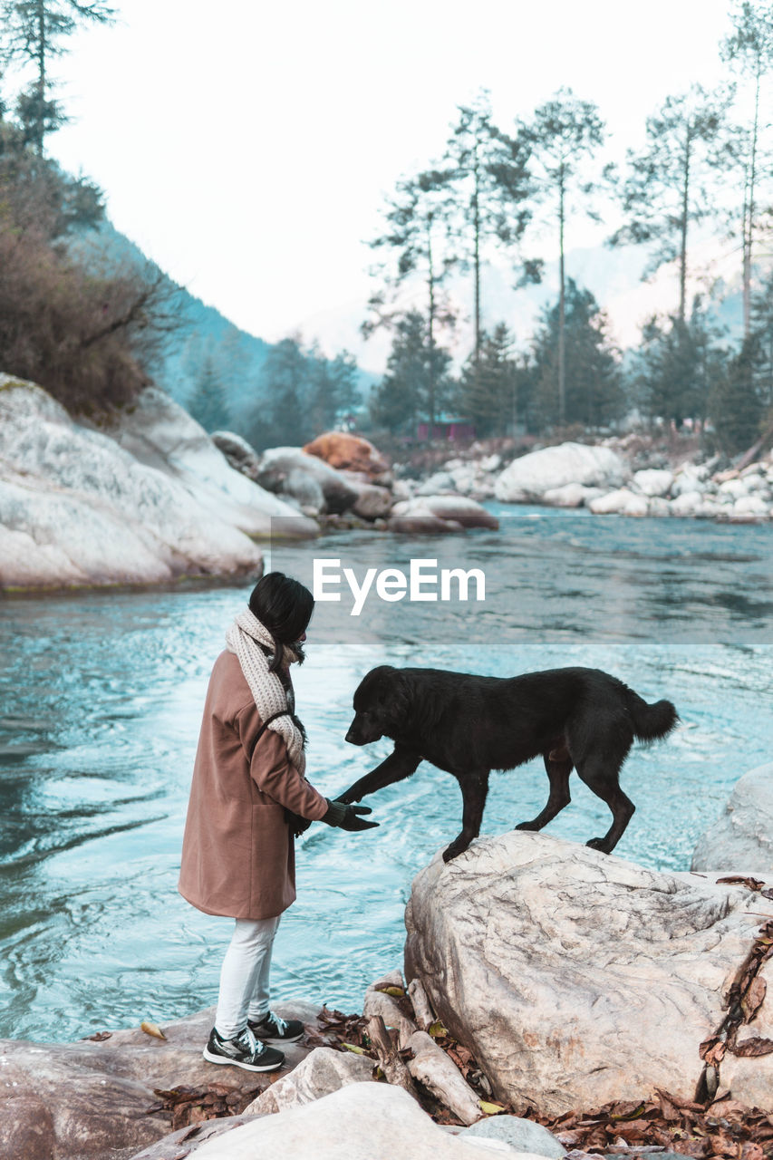 Full length of a woman and a dog in the river bank