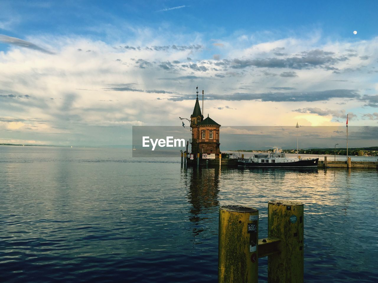 Imperia at lake constance against sky
