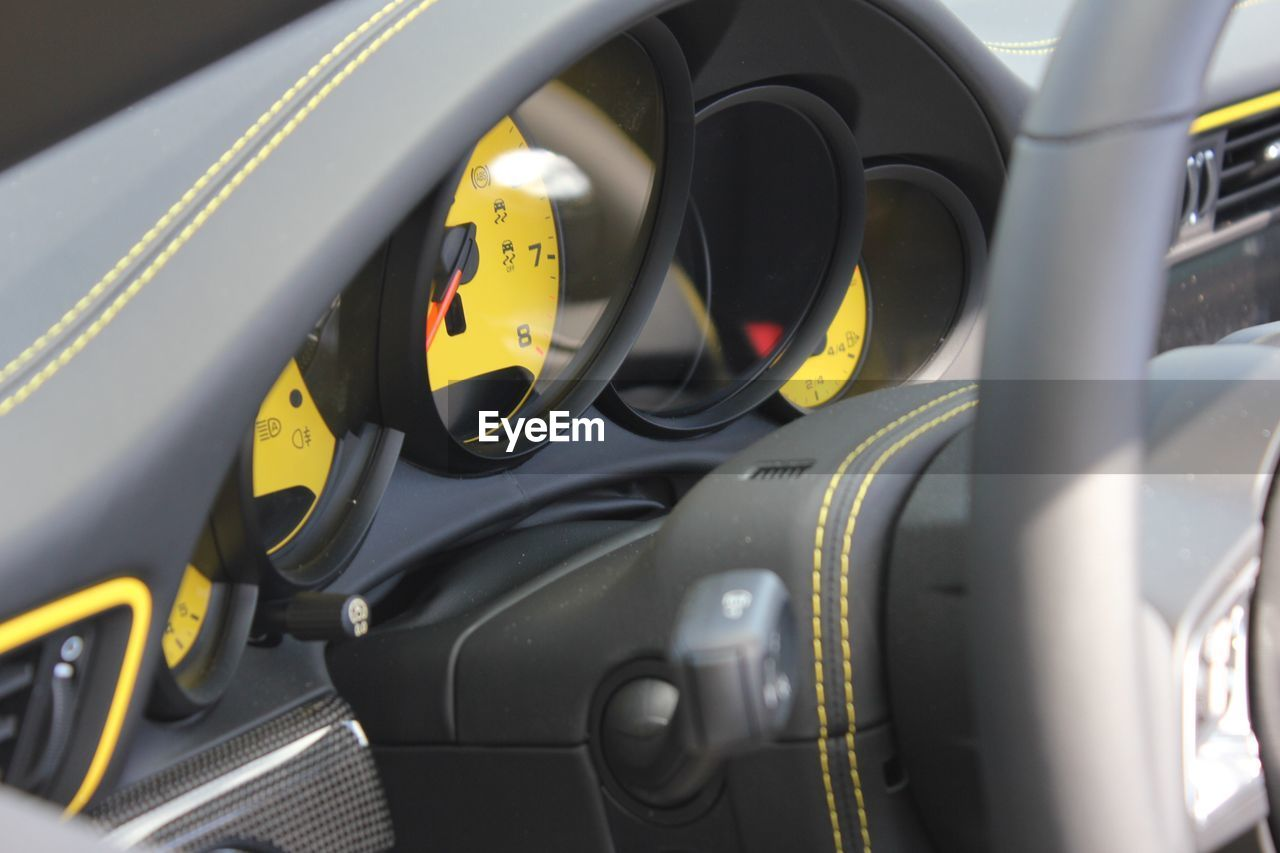 Close-up of dashboard in car