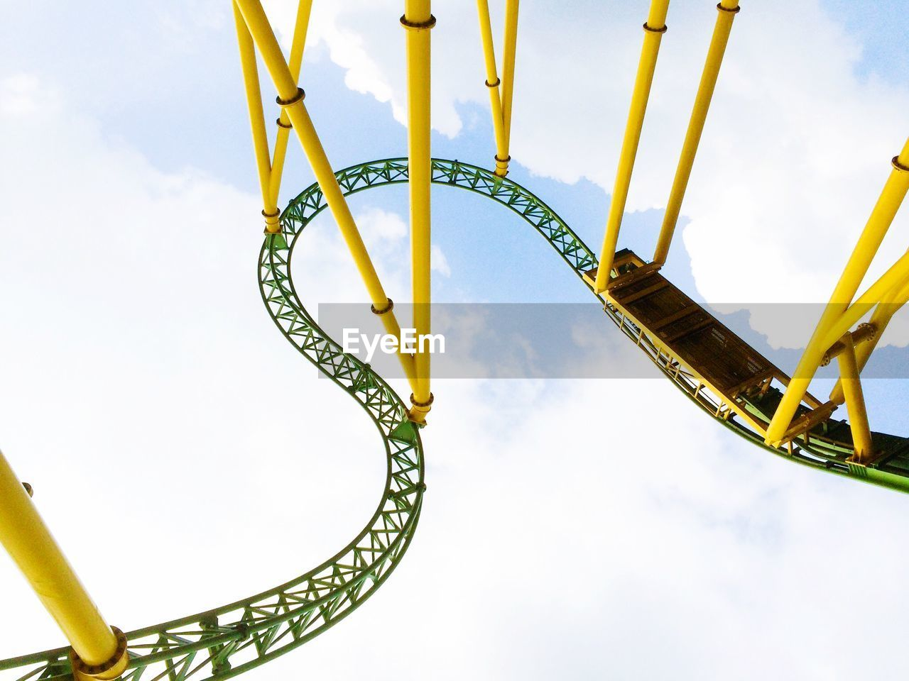 Low Angle View Of Rollercoaster Track Against Sky