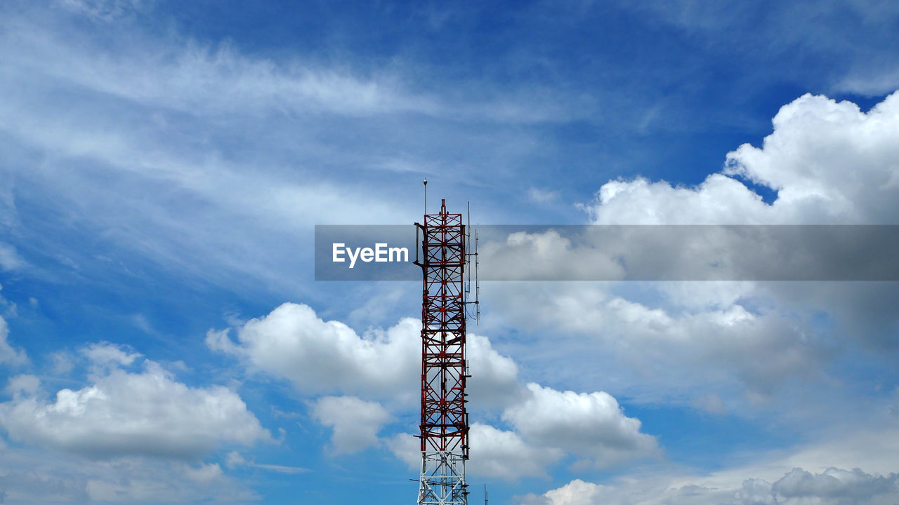 cloud - sky, sky, low angle view, technology, day, no people, built structure, nature, architecture, communication, tower, global communications, connection, metal, outdoors, satellite, satellite dish, tall - high, blue