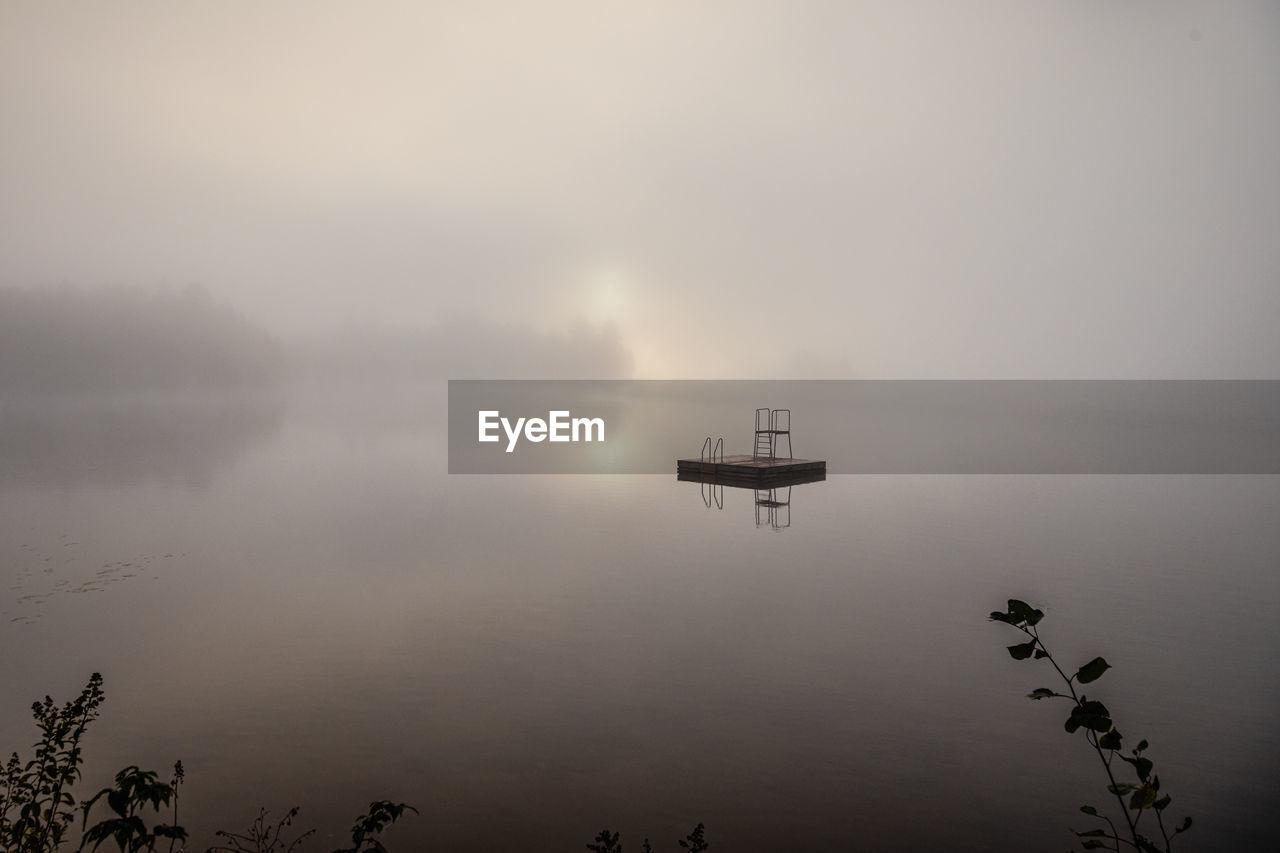 SHIP IN LAKE AGAINST SKY
