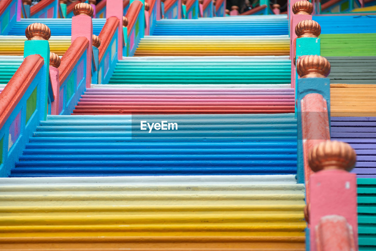 Low angle view of colorful steps at batu caves