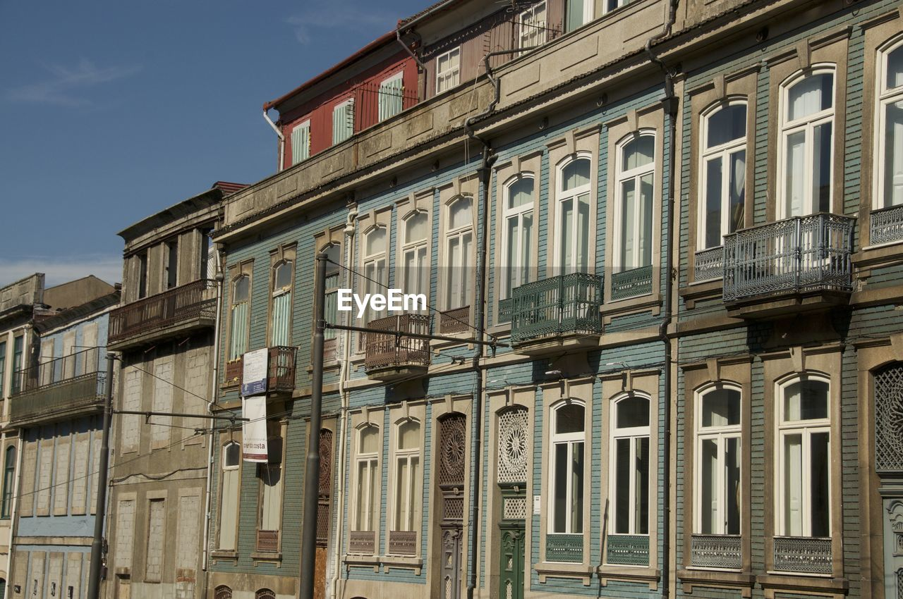 building exterior, architecture, built structure, window, outdoors, low angle view, no people, balcony, day, sky, city, prison