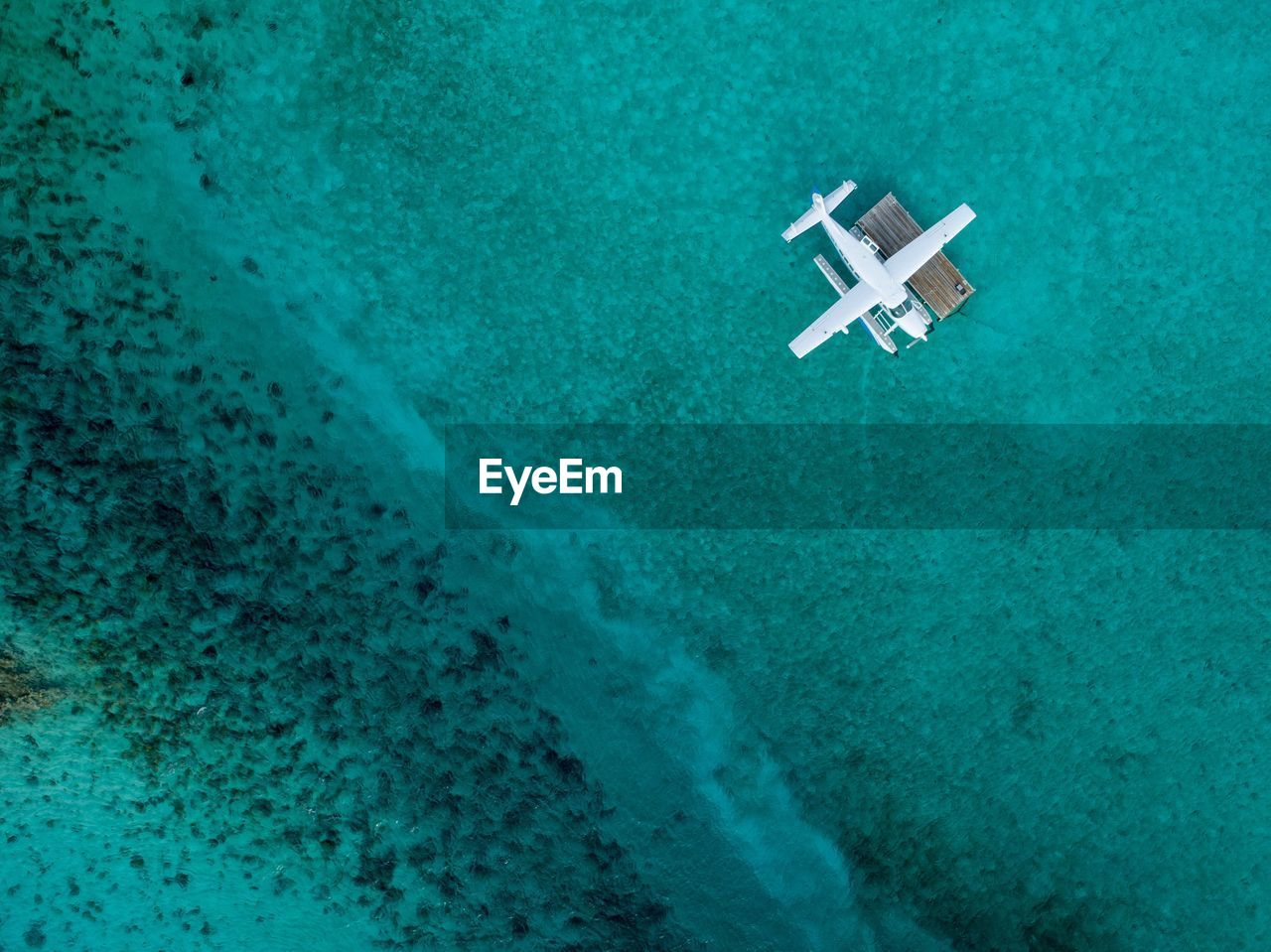 Aerial View Of Seaplane On Sea