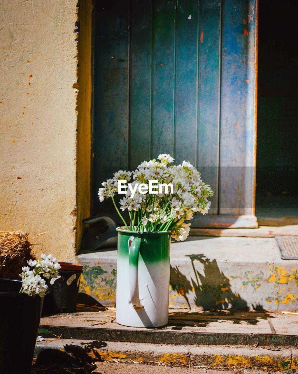 Low Ange View Of Flowers In Jug By Door