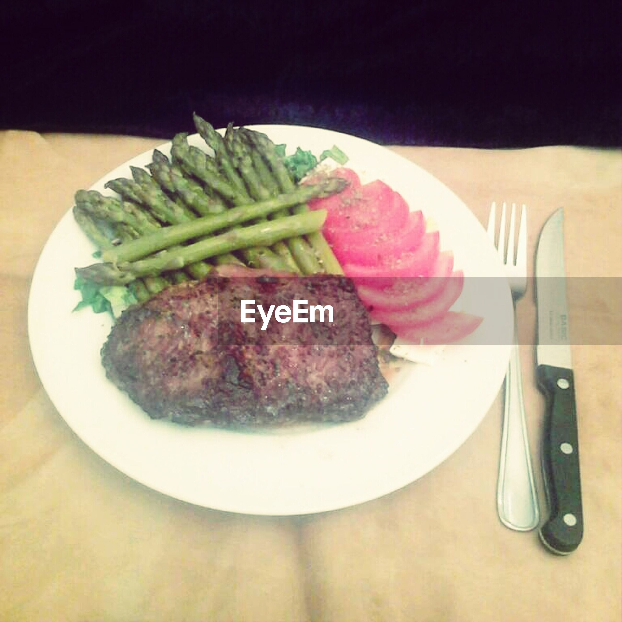 food, food and drink, indoors, freshness, ready-to-eat, plate, still life, healthy eating, table, serving size, meal, close-up, indulgence, fork, meat, high angle view, vegetable, salad, served, slice