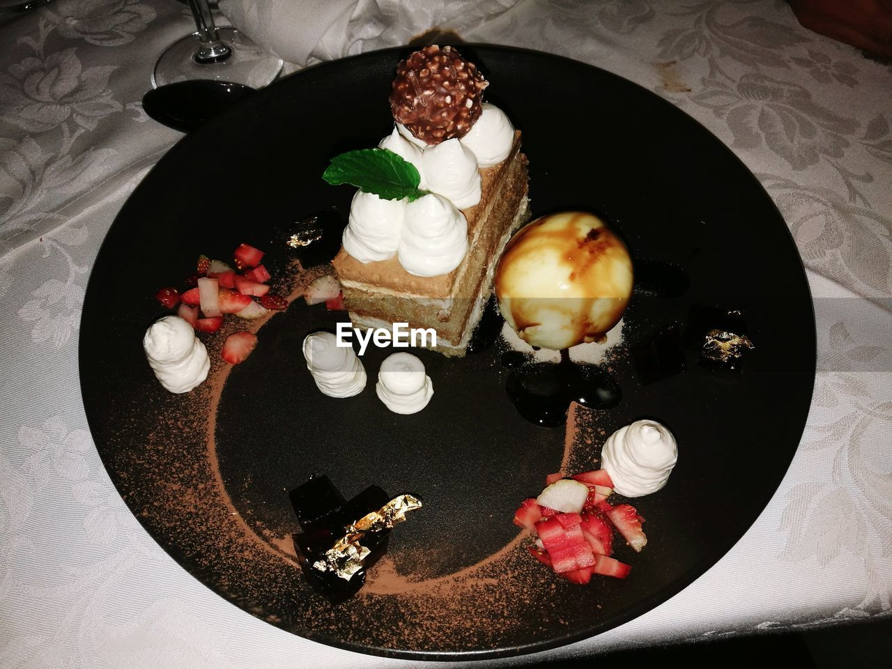 High angle view of cake in plate on table