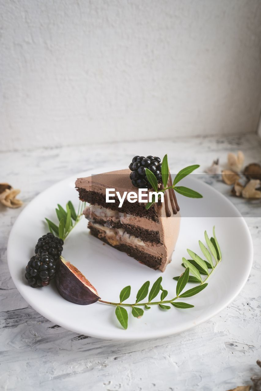 food, food and drink, indulgence, sweet food, plate, freshness, sweet, temptation, dessert, ready-to-eat, still life, indoors, table, baked, no people, unhealthy eating, cake, close-up, serving size, garnish, herb, snack, mint leaf - culinary, food styling, chocolate cake