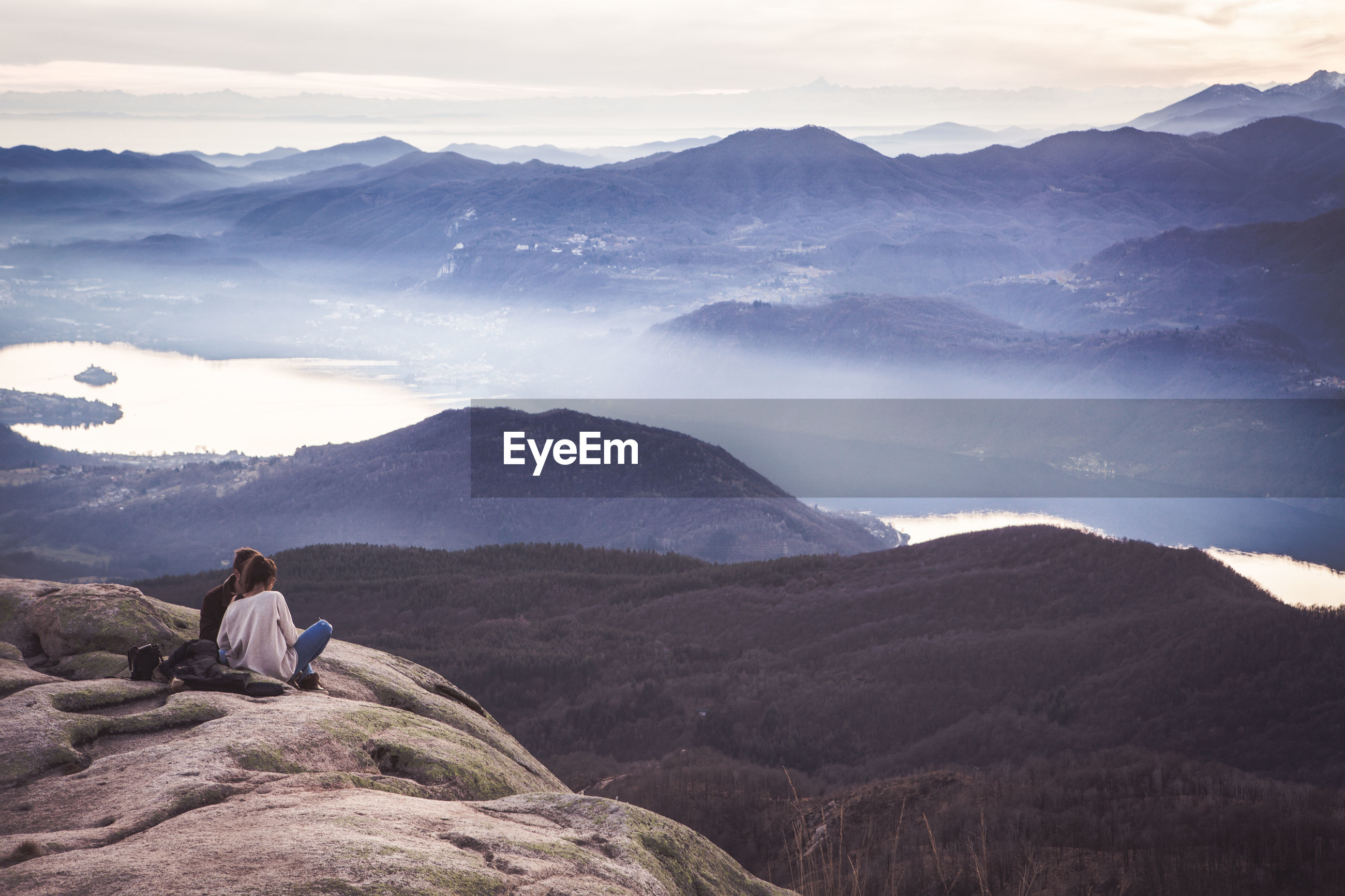 Scenic view of people on mountain
