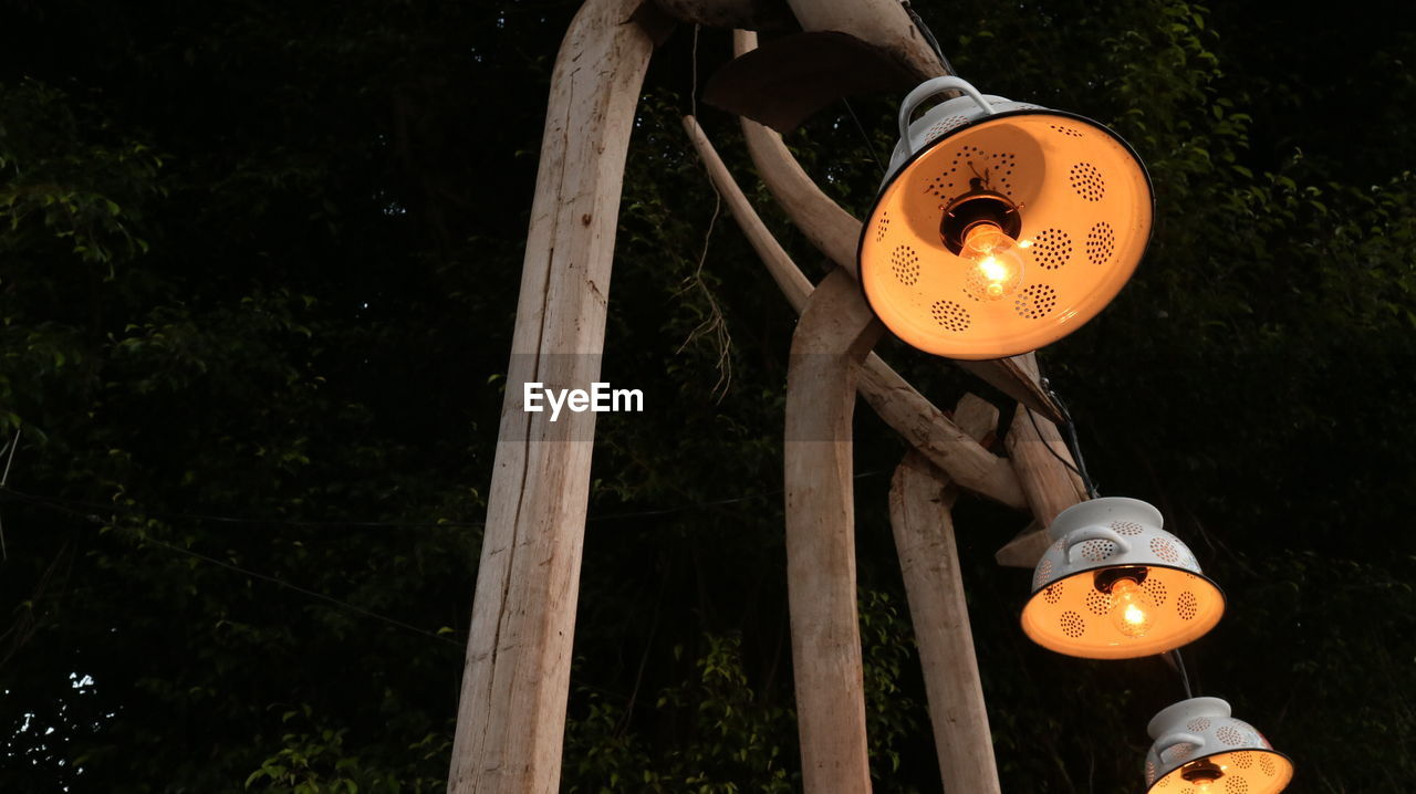 lighting equipment, illuminated, orange color, lantern, glowing, tree, night, real people, wood - material, celebration, hanging, outdoors, nature, decoration, low angle view, plant, electricity, communication, paper lantern