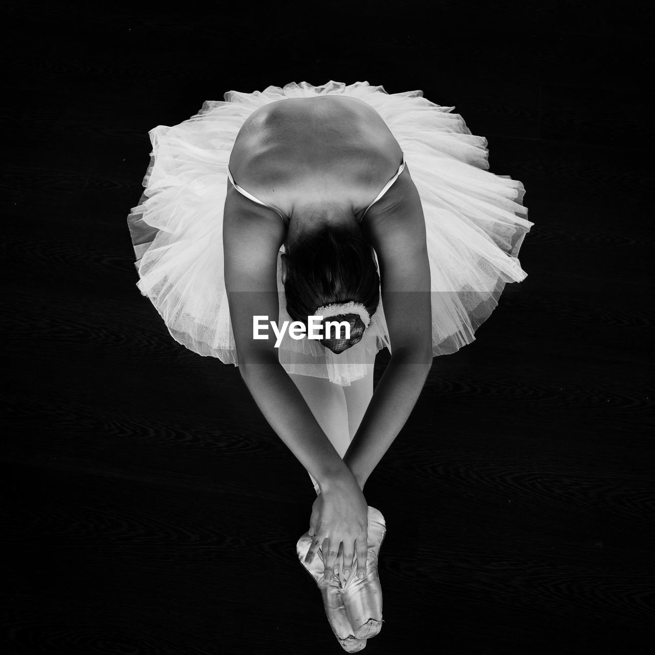 High Angle View Of Ballerina Performing At Dance Studio