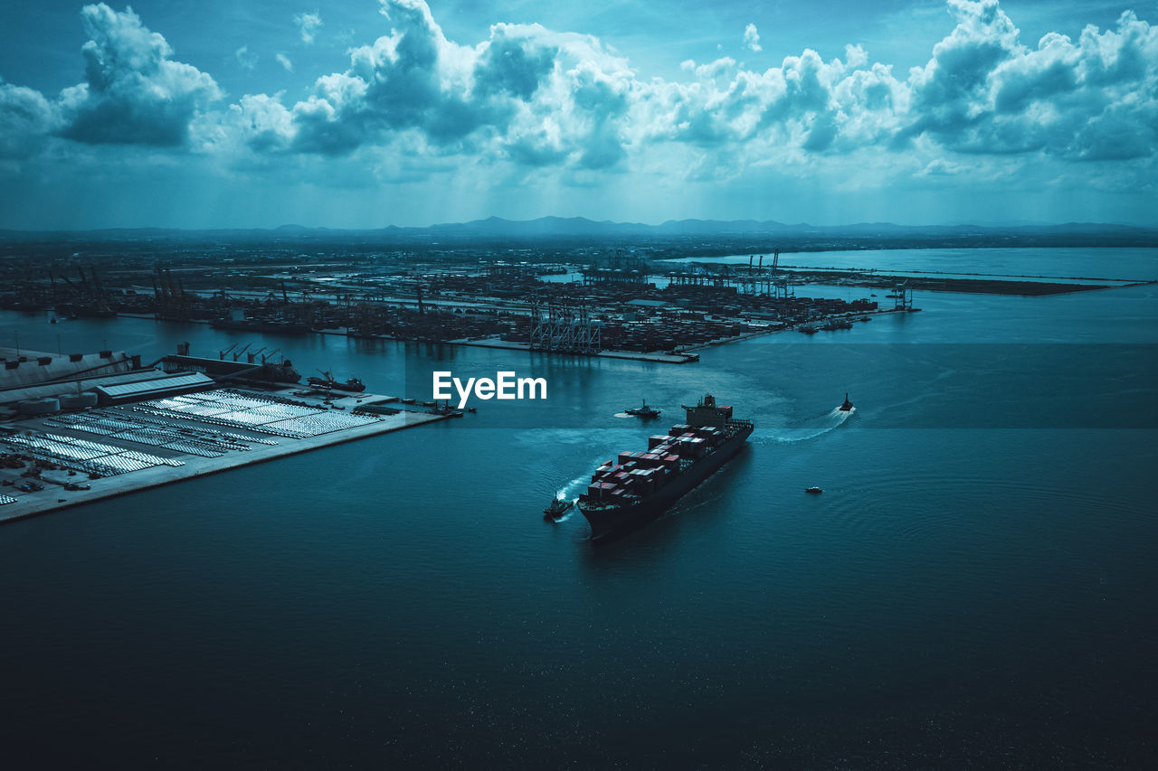 Industry business logistics cargo containers ship import export international by the sea camera from