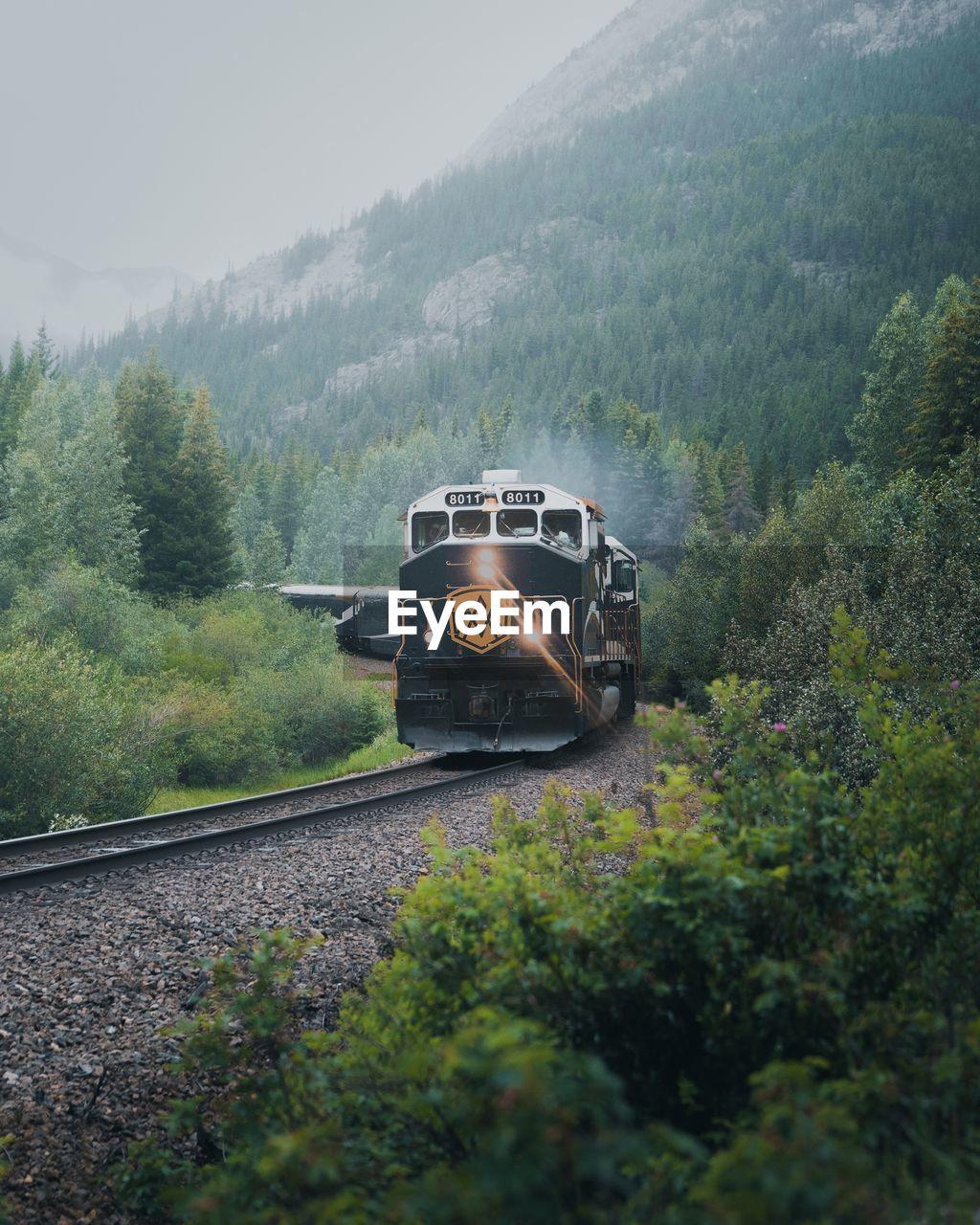 TRAIN ON RAILROAD TRACK AGAINST MOUNTAIN