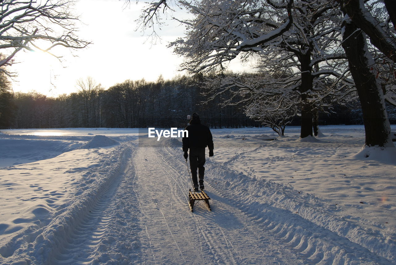 Rear view of man pulling sled on snowy field during sunny day