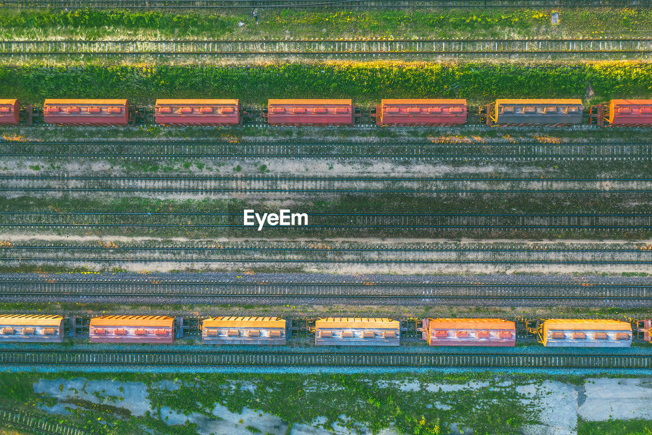 Directly above shot of freight train on railroad track