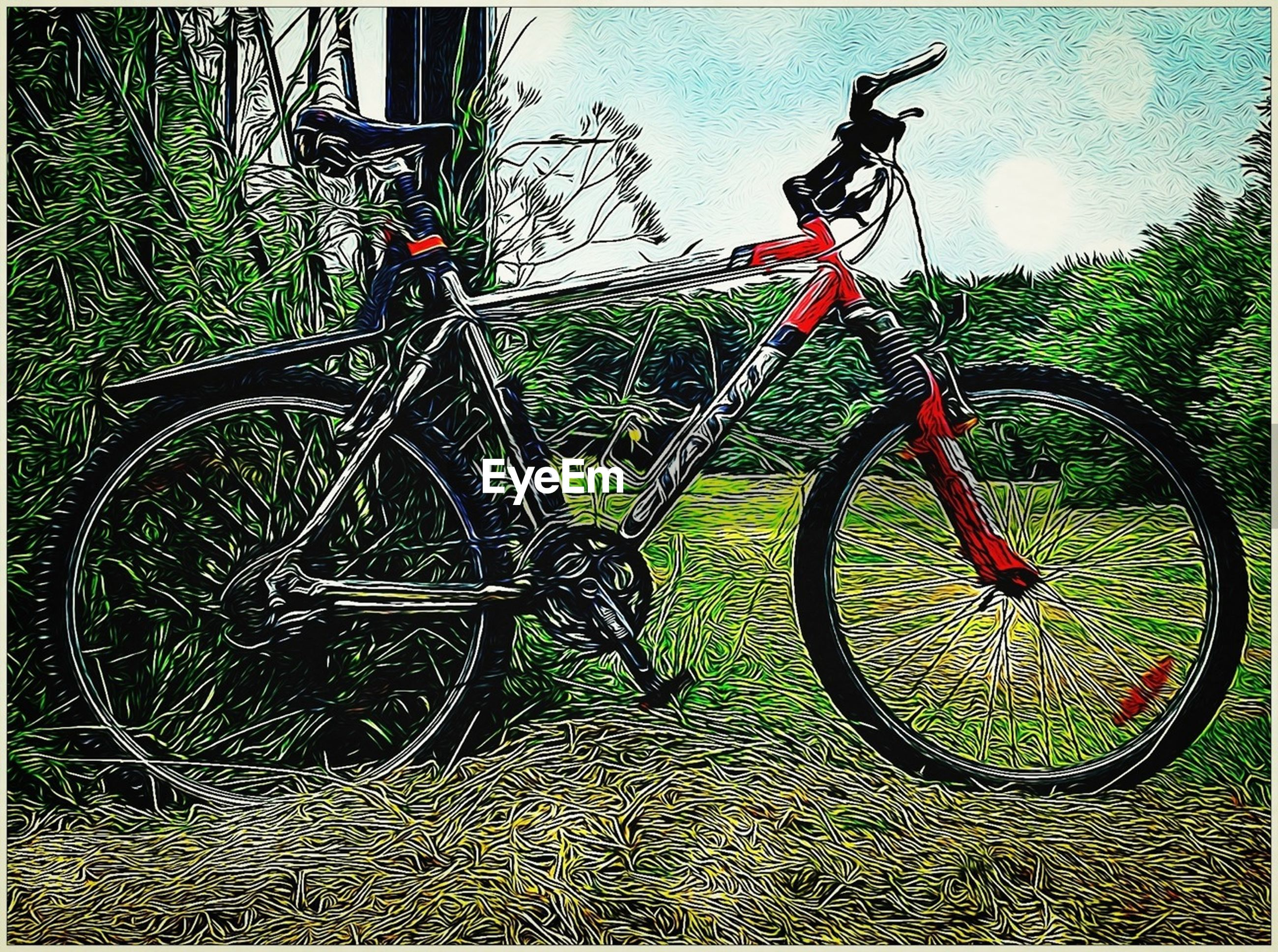 bicycle, transportation, mode of transport, transfer print, land vehicle, stationary, auto post production filter, parking, parked, wheel, grass, day, metal, outdoors, no people, plant, field, safety, protection, fence