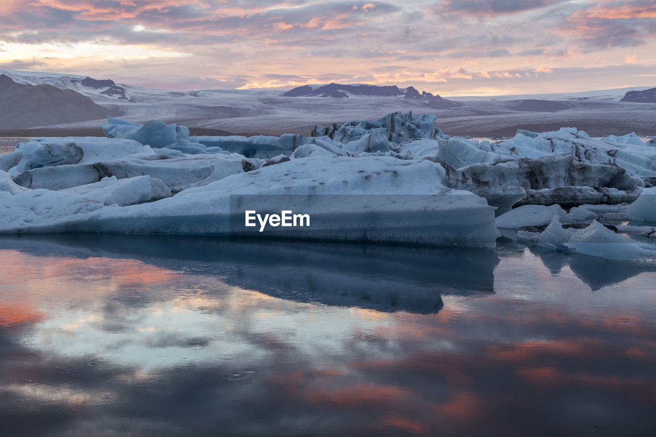 Scenic View Of Icebergs In Lake Against Sky During Sunset