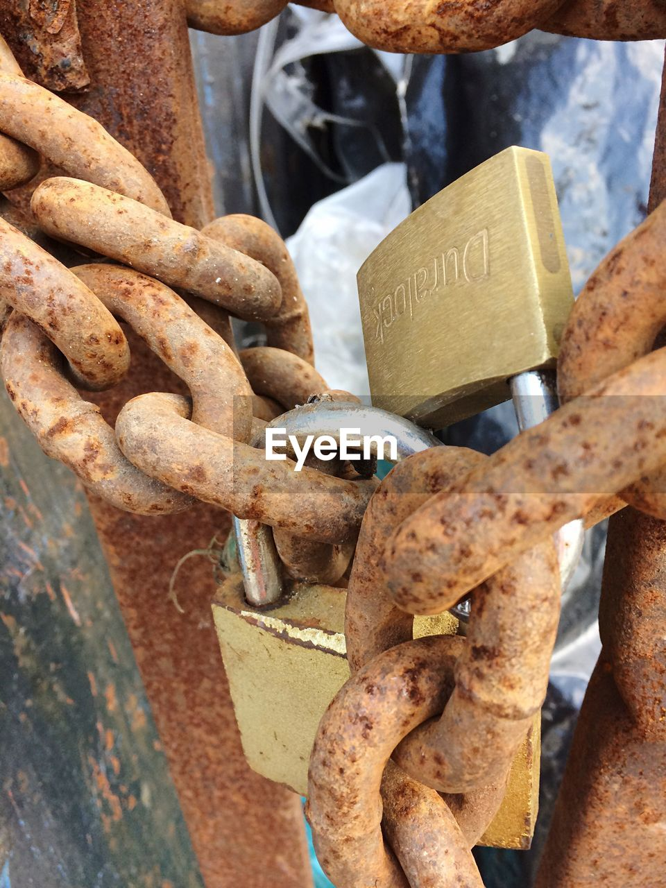metal, rusty, close-up, padlock, chain, outdoors, lock, no people, day