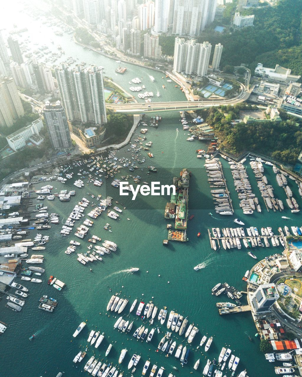 Aerial view of aberdeen marina club in city