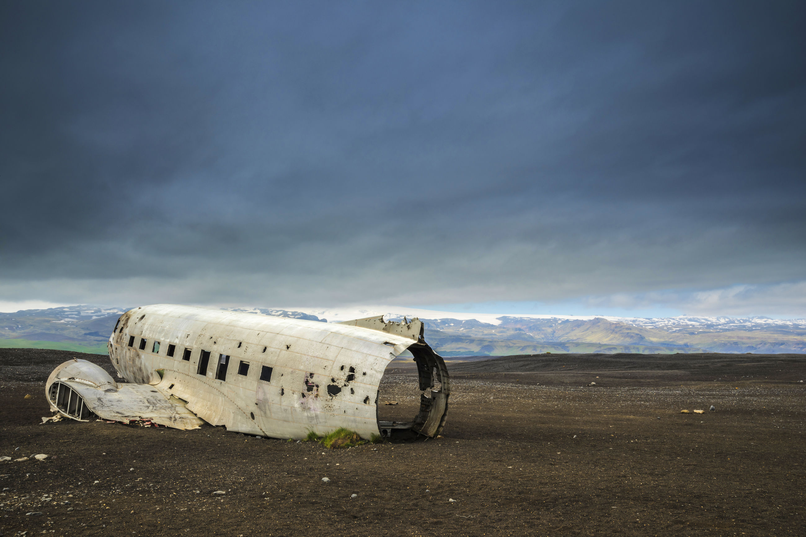 ABANDONED AIRPLANE ON FIELD