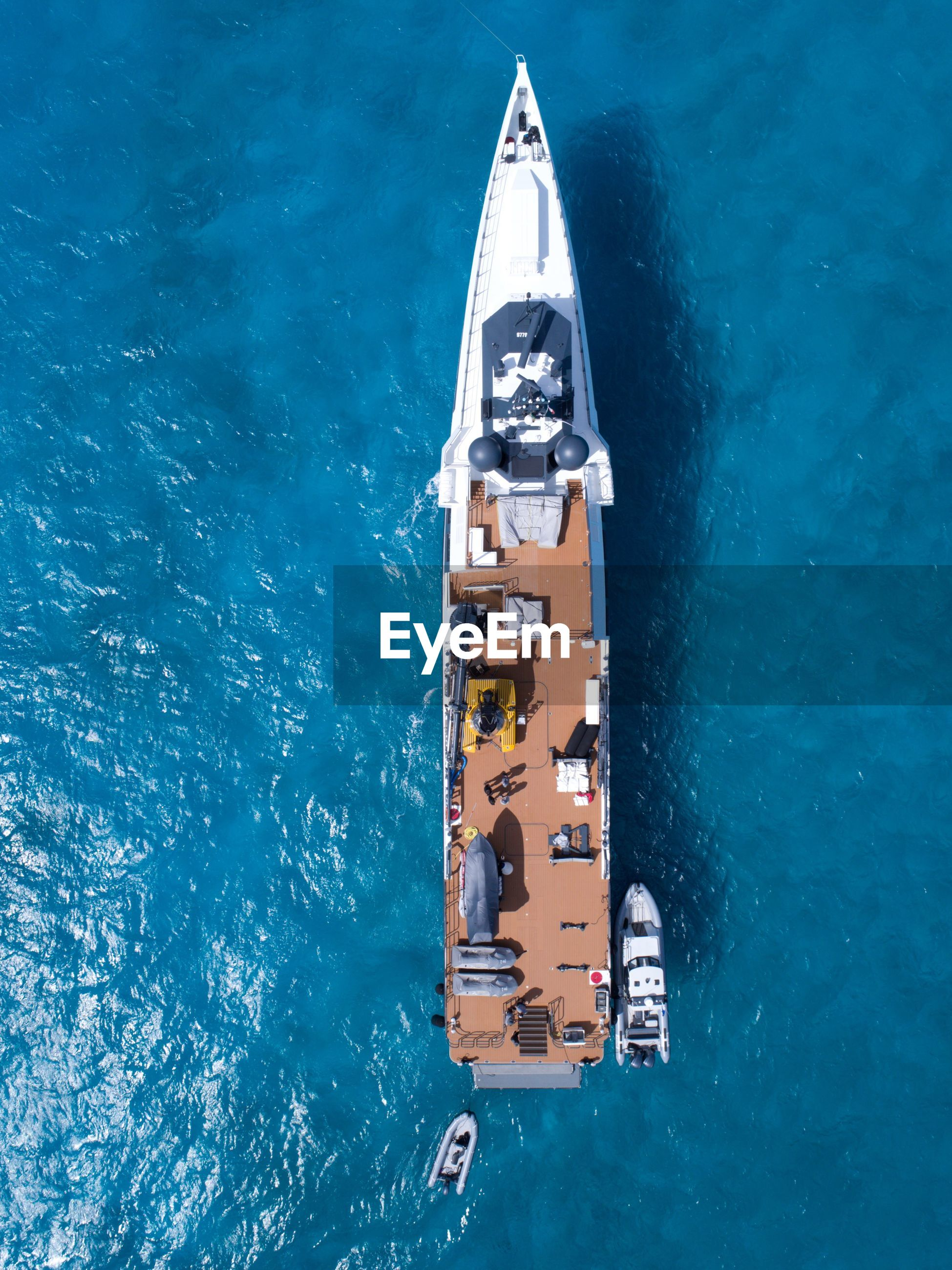 Directly above shot of yacht on blue sea