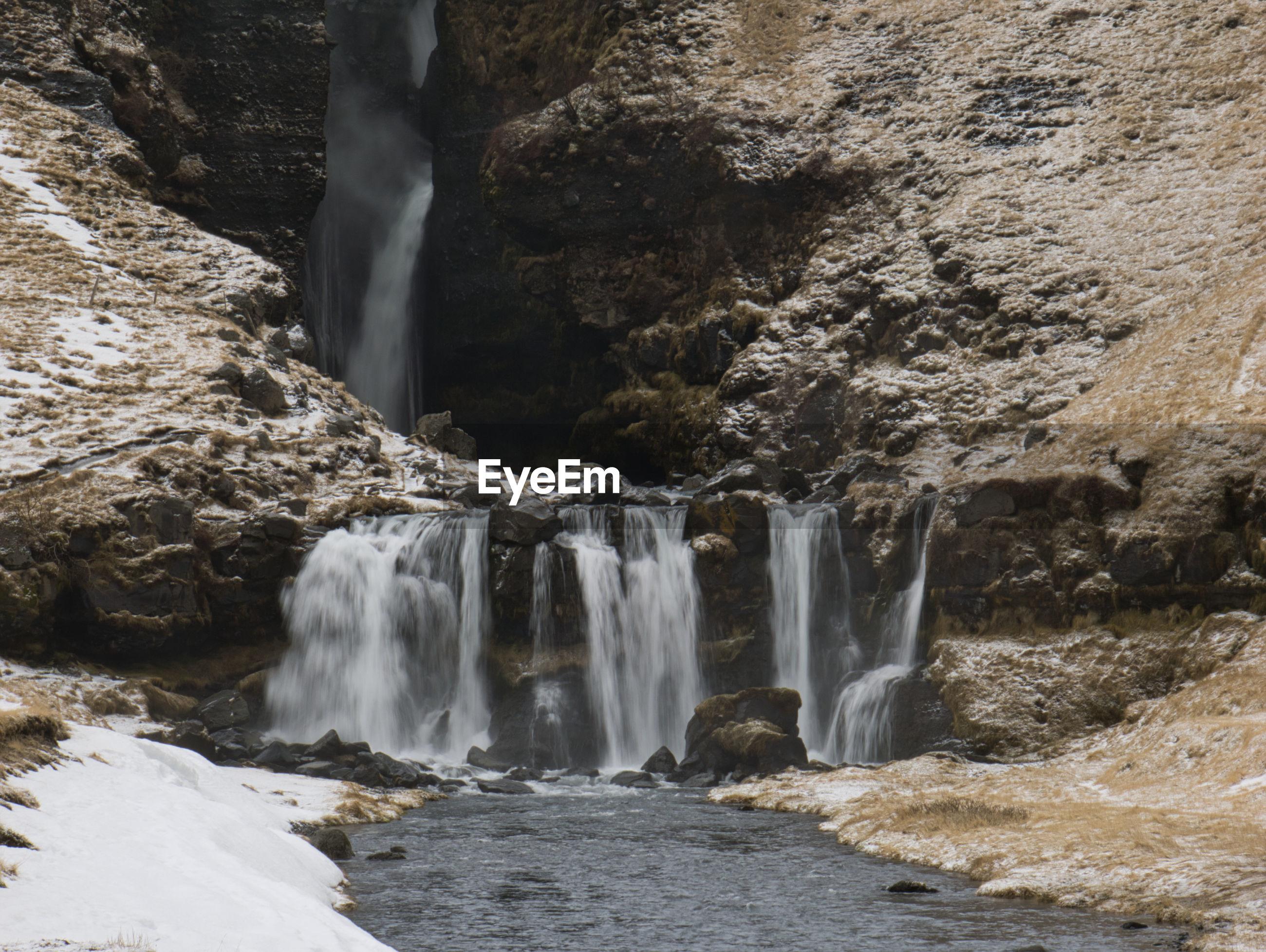 VIEW OF WATERFALL ON ROCKS