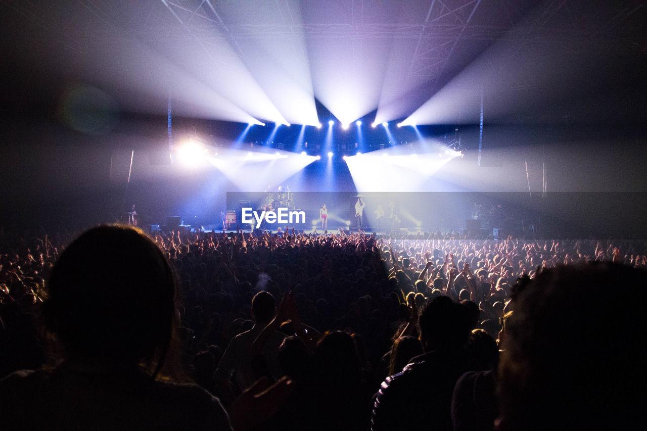 People Enjoying Concert At Night