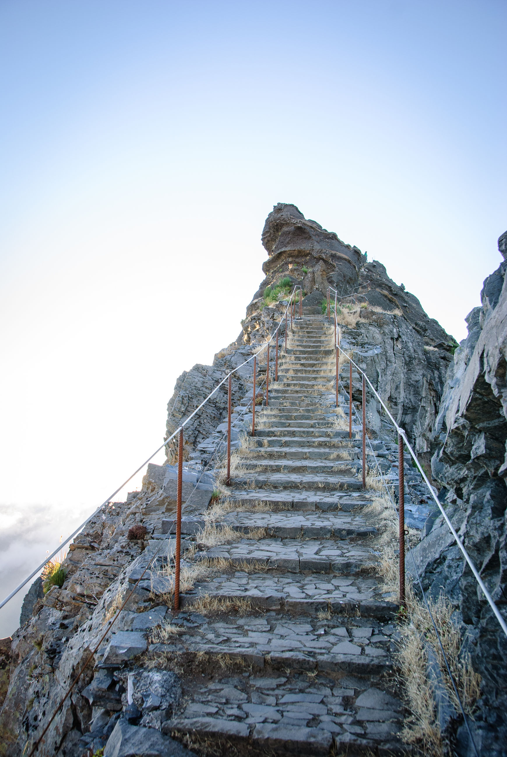 LOW ANGLE VIEW OF STEPS AGAINST CLEAR SKY