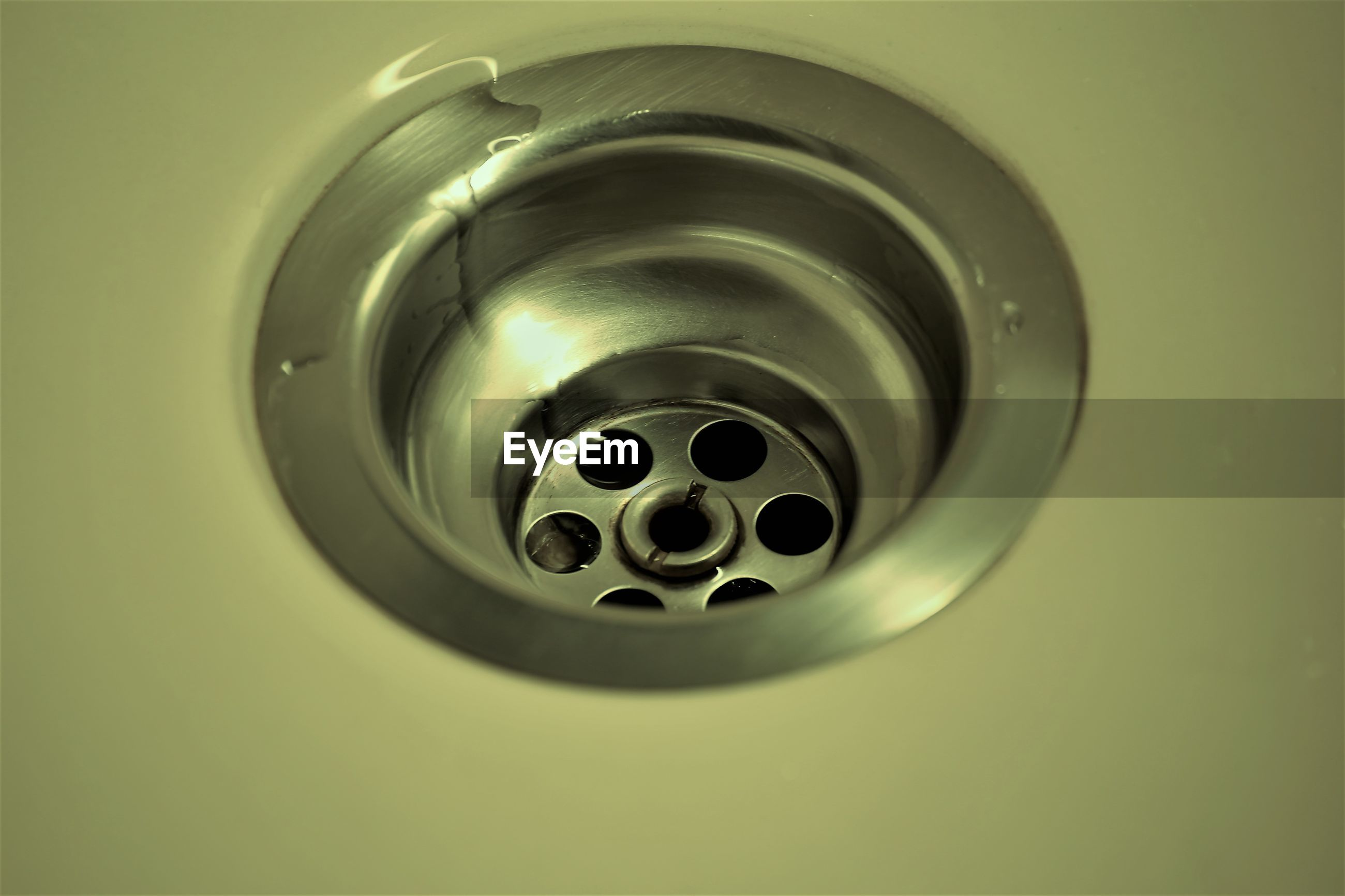 Close-up of drain in sink