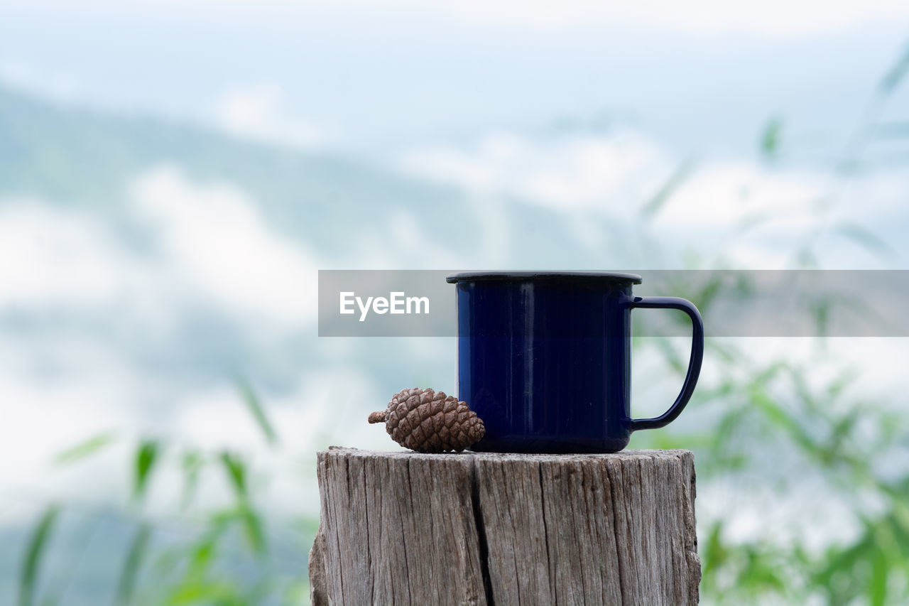 focus on foreground, wood - material, cup, mug, food and drink, no people, day, nature, coffee cup, close-up, still life, plant, green color, drink, coffee - drink, outdoors, coffee, table, tree, refreshment, bark, tea cup, wooden post