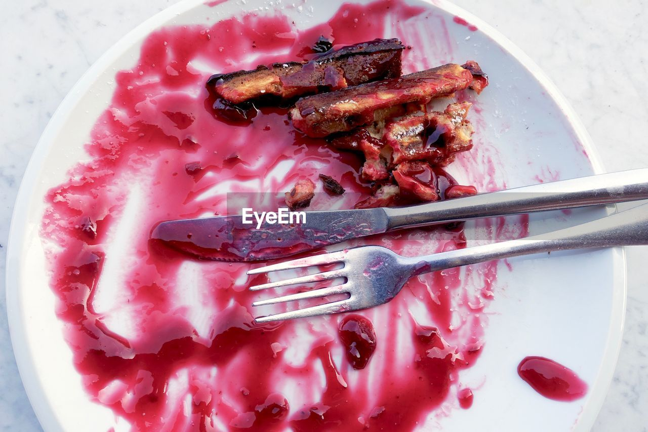 food, food and drink, freshness, plate, still life, high angle view, indoors, kitchen utensil, eating utensil, no people, close-up, ready-to-eat, fork, healthy eating, indulgence, pink color, red, wellbeing, sweet food, dessert, temptation