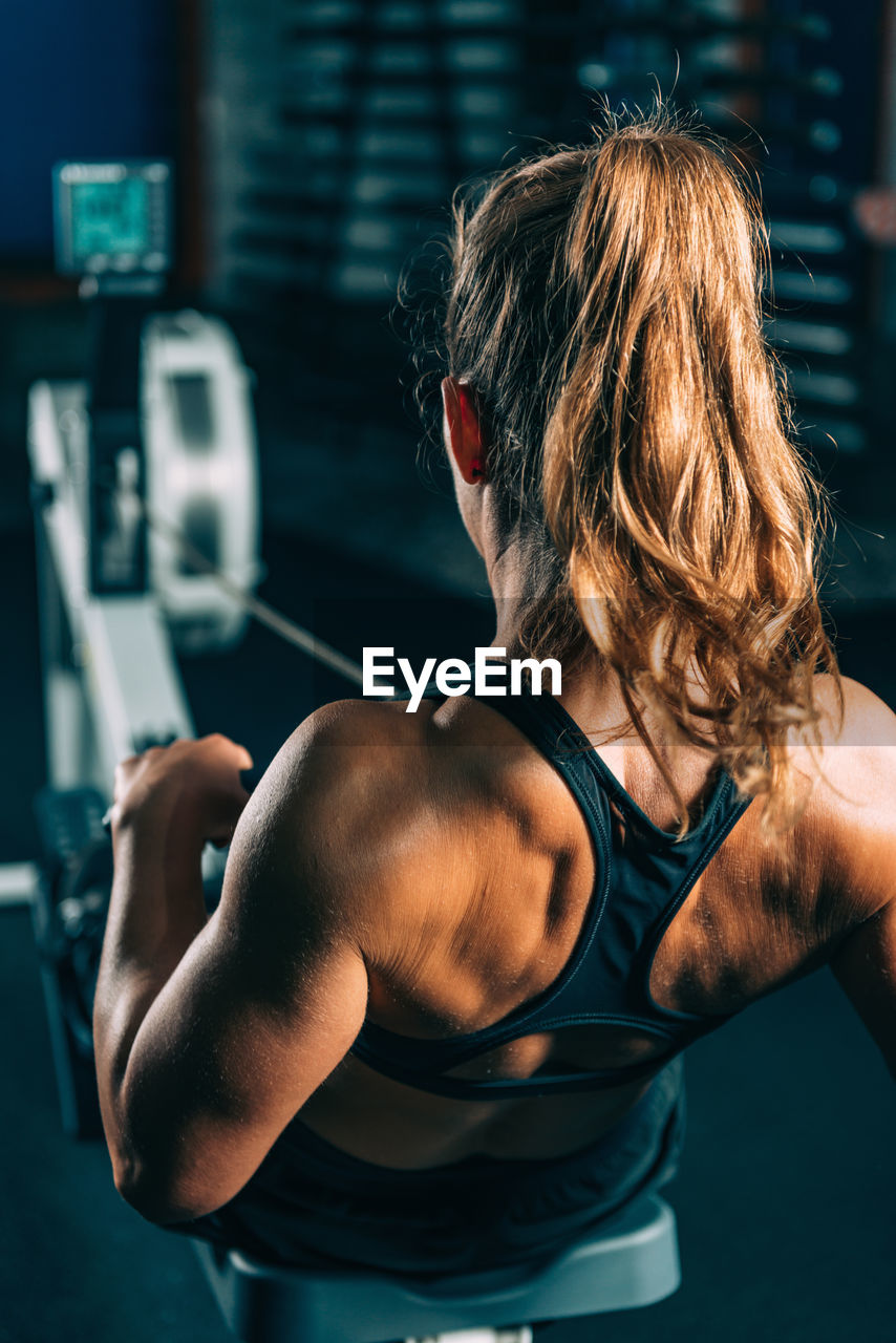 lifestyles, one person, muscular build, healthy lifestyle, exercising, strength, sport, indoors, real people, gym, sports training, athlete, adult, rear view, focus on foreground, vitality, sports clothing, determination, leisure activity, hairstyle, weight, weight training, effort