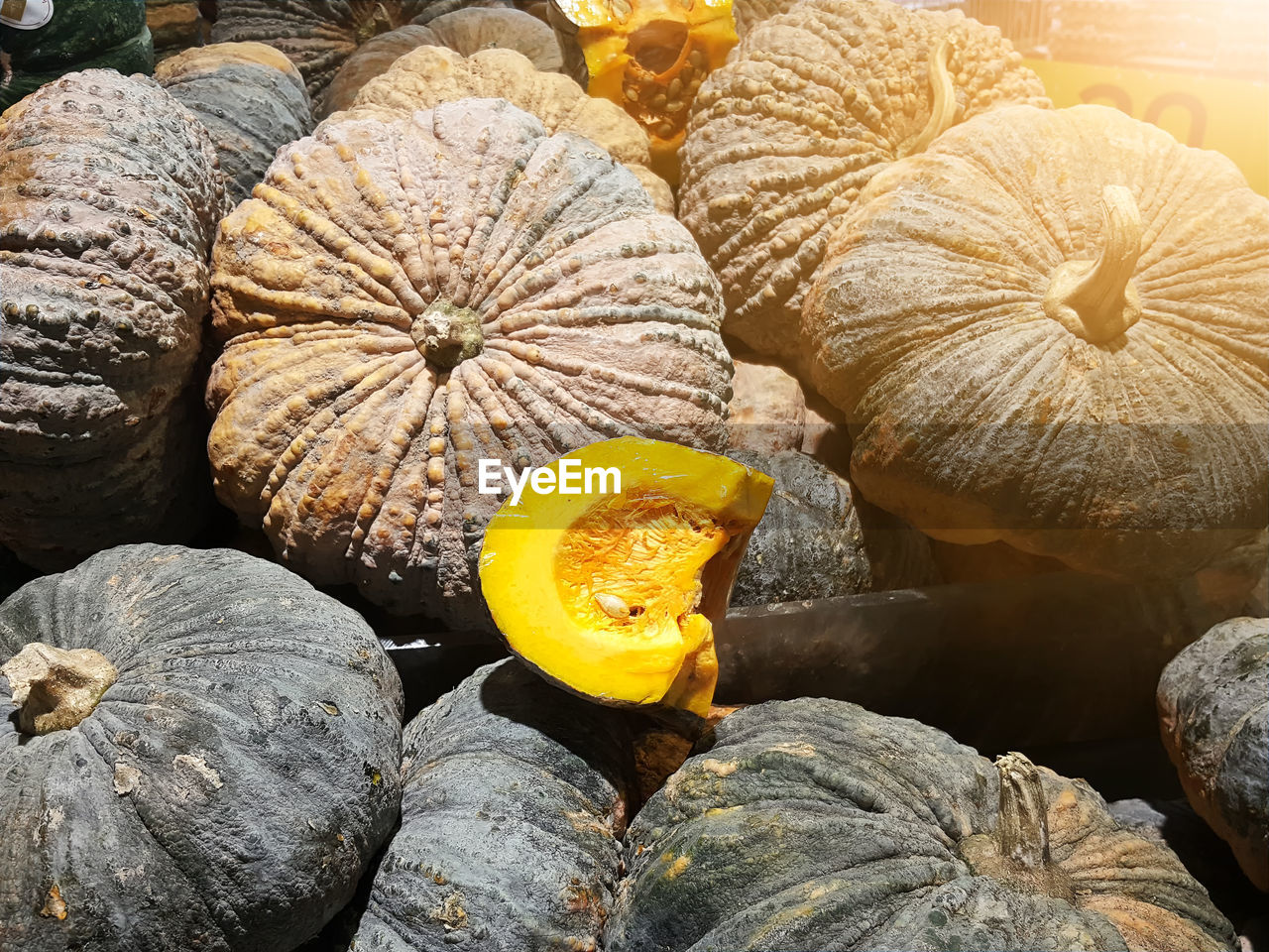 food and drink, food, healthy eating, freshness, close-up, wellbeing, pumpkin, no people, fruit, yellow, still life, nature, day, orange color, outdoors, vegetable, plant, high angle view, natural pattern, raw food