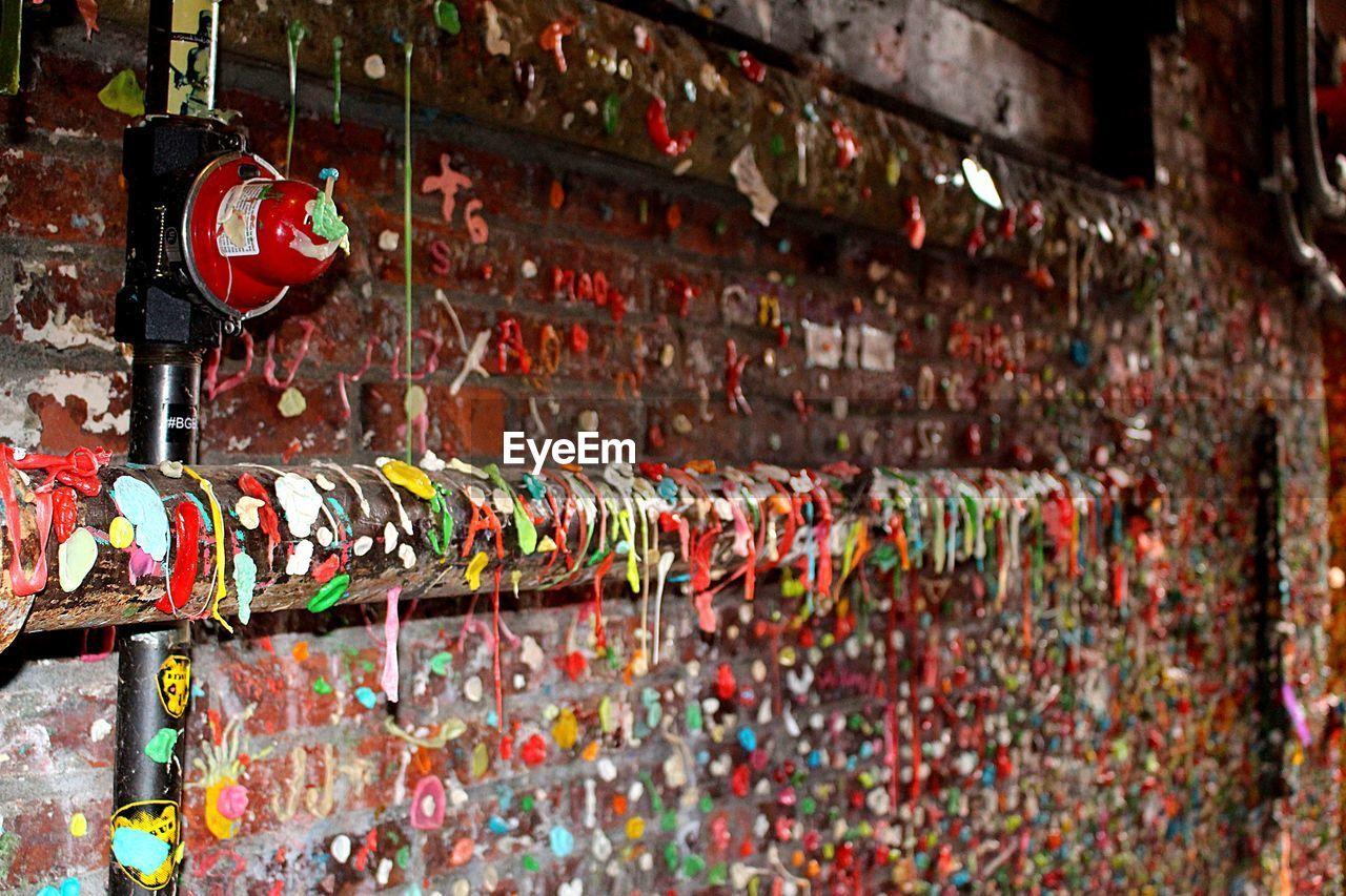Messy graffiti wall of chewed bubble gum