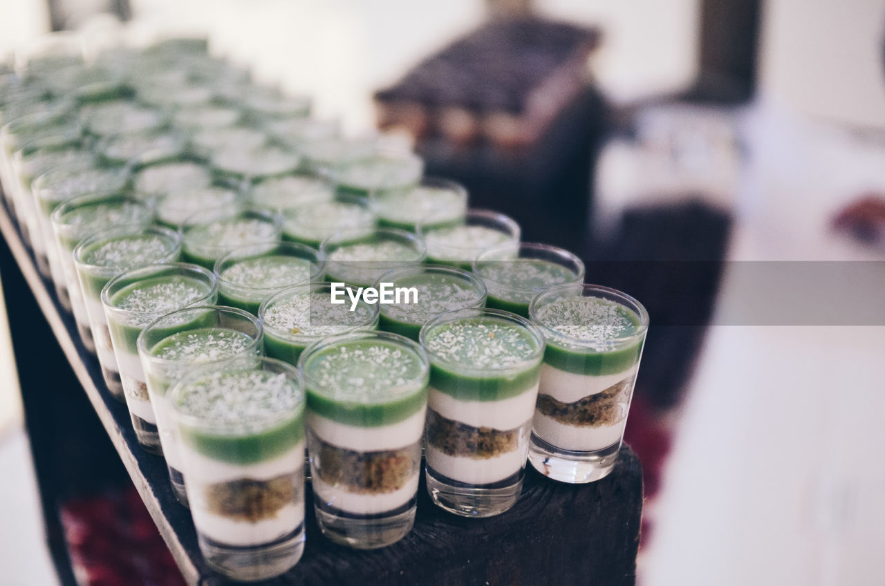 Close-Up Of Dessert In Small Glasses