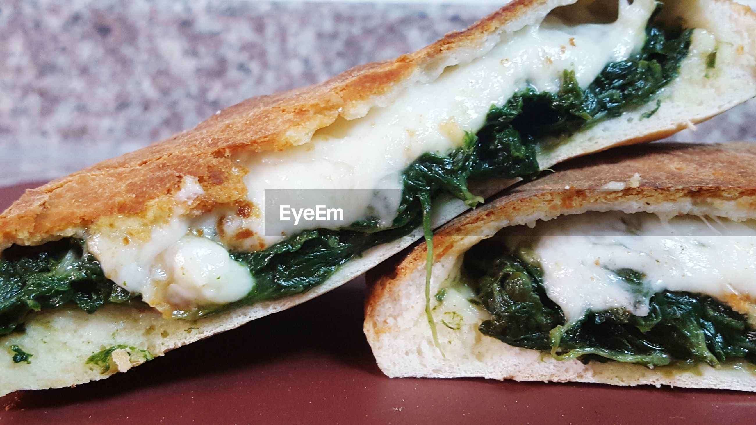 Close-up of spinach sandwich