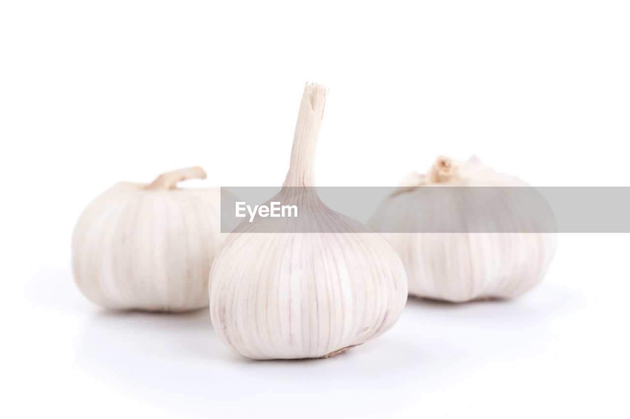food and drink, garlic, spice, freshness, food, studio shot, white background, still life, close-up, indoors, ingredient, vegetable, healthy eating, no people, wellbeing, garlic bulb, group of objects, cut out, raw food, white color, garlic clove