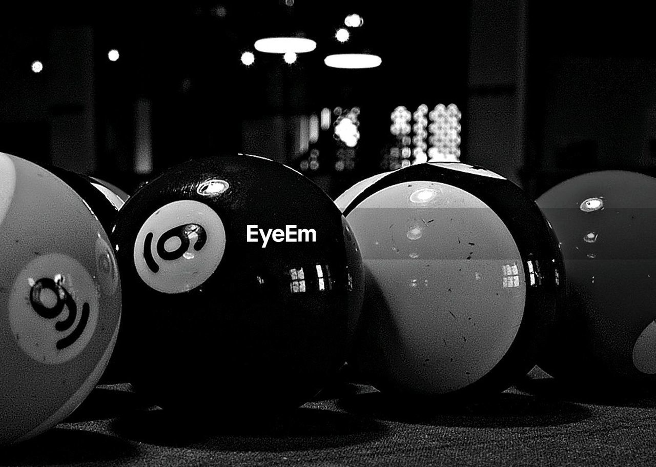 indoors, pool ball, illuminated, pool table, sport, close-up, night, pool - cue sport, no people, snooker, pool cue