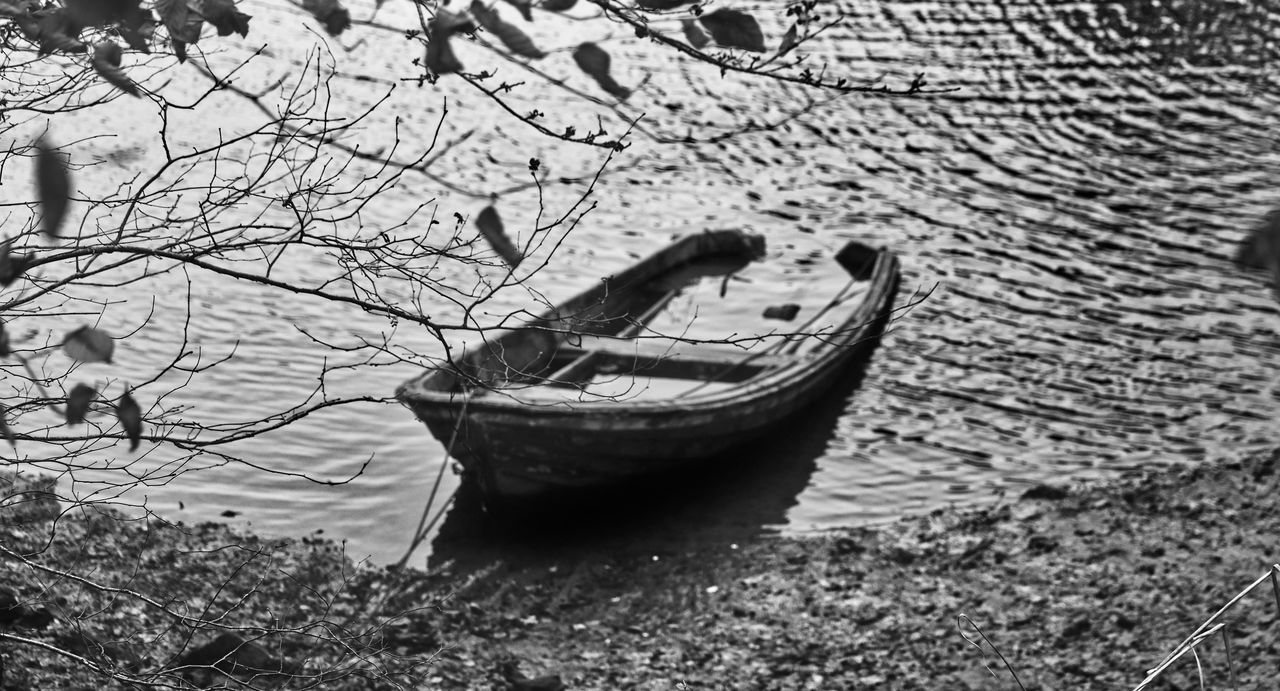 nautical vessel, mode of transportation, transportation, water, nature, no people, day, moored, land, beach, tranquility, outdoors, abandoned, lake, old, tree, travel, plant, rowboat