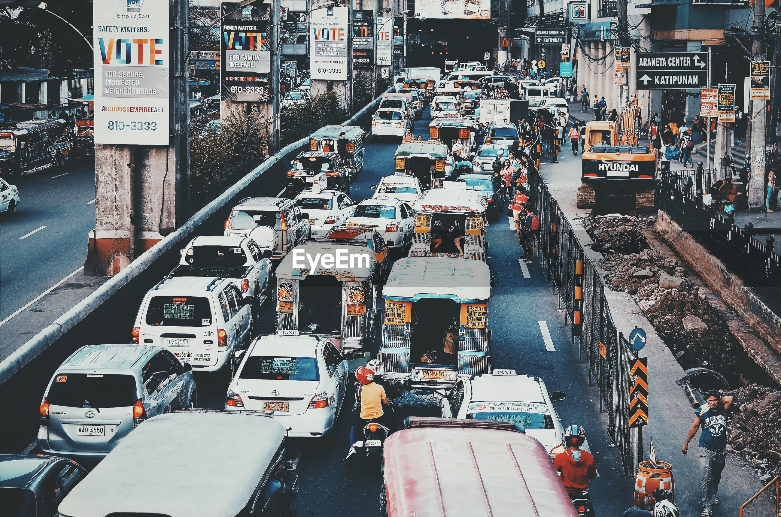 High angle view of traffic on road during rush hour